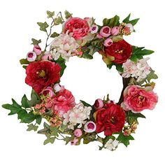 Your Hearts Delight Peonies and Berries on Twig Base Wreath, 20-Inch >>> More details @ http://www.amazon.com/gp/product/B00KU4PKP6/?tag=christmas3638-20&pyx=260916172228
