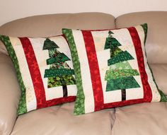 Quilted Christmas Pillows, Set of Two Christmas Tree Quilted Throw Pillows - 20 inch Red and Green Crazy Patchwork Pillows, Quiltsy Handmade by QuiltSewPieceful on Etsy