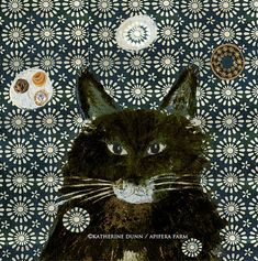 """A print of Black Cat in Snow by katherinedunn on Etsy. The much maligned black cat deserves to be celebrated.  $56.00  Image is 8"""" x 8"""" and sits on white fine art paper with a 1"""" border around entire image [entire piece is 9"""" x 9"""". Signed at bottom of image."""