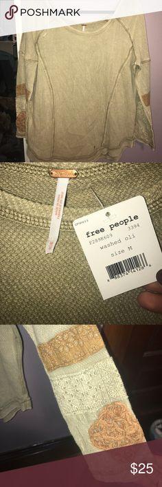 Free People Thermal NEVER WORN Free People Thermal with pattern on sleeve! NEVER WORN! Free People Tops Tees - Long Sleeve