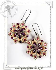 Iringa beaded earrings PDF pattern by EwaHotBeads on Etsy