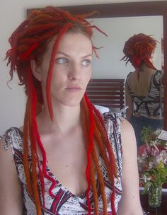 red wool and synth dread install by kdkaboo, via Flickr