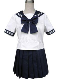 Royal Blue Solide Short Sleeves Sailor School Uniform Cosplay Costume