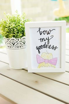 """bow my goodness"" print for a little girl's room"