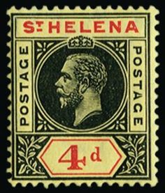 ST Helena  1913 Unit weight: 0.001 kilograms 1913 4d black and red/yellow, showing variety 'Split A' from R8/3 of left pane, very fine and fresh, o.g. Very scarce.
