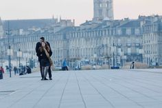 18th of December - Bordeaux(France) : lovers on the riverside of Garonne river on a freezing afternoon