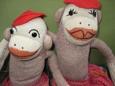 Old Vintage Sock Monkey Couple MA and PA Adorable | eBay