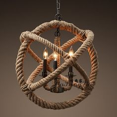 The rope chandelier with different bulbs