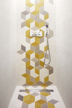 Gallery of White Lodge / Studio Octopi - 9 interesting to see stuff in the design sites where im pretty sure i must have the same source pinned on my board that the designer did! Bathroom Floor Tiles, Laundry In Bathroom, Small Bathroom, Tile Floor, Bathroom Styling, Bathroom Interior Design, Interior Ideas, Rhombus Tile, Geometric Tiles