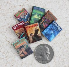Harry Potter One twelfth Scale  Miniature Book Set on Etsy, $7.00  Haha I don't know what I would do with these but they're so tiny and cute!