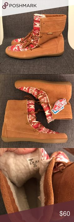 Vans Maraka Boot NWT Color is red native/tobacco brown. Faux fur lining inside. Size 7. NWT! Vans Shoes Moccasins