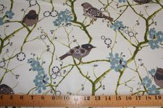 brown blue fabric | Liberty Tana lawn Birdsong brown/blue by TillyCharlesFabrics