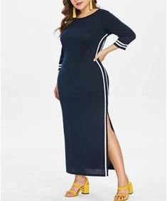Sexy Fashion Loose Plus Size Pure Colour Round Neck Maxi Dress Plus Size Spring Dresses, Casual Dresses Plus Size, Spring Dresses Casual, Plus Size Casual, Dress Casual, Casual Outfits, Types Of Fashion Styles, Dress Brands, Plus Size Women