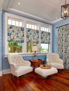 Flower Power is still going strong for custom window treatments. House of Turquoise