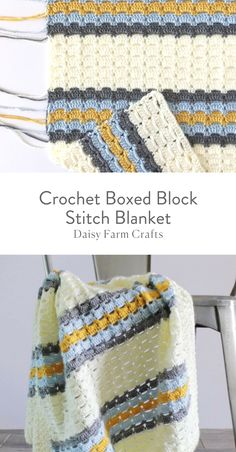 This crochet boxed block stitch blanket started with research of vintage stitches. I wanted to make a baby boy blanket using soft blue adding a touch of retro mustard and gray into the mix. But I wanted a classic stitch to accomplish the look. Crochet Box, Crochet Crafts, Crochet Projects, Free Crochet, Knit Crochet, Box Stitch Crochet, Crochet Afghans, Crotchet, Crochet Stitches Patterns