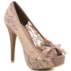 nude color lace and bow peep toe