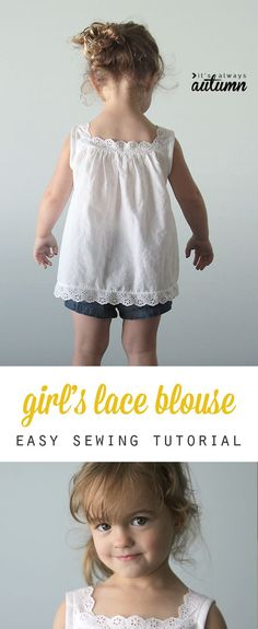 This is beautiful! The sewing tutorial actually looks pretty easy and shows you how to make a girl's blouse in any size.