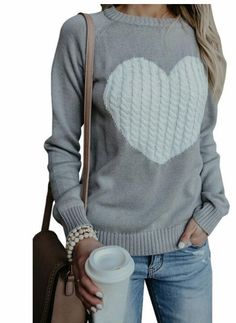 9307cf803 New Arrival Gray Women Winter Autumn Sweather With Print Heart Long Sleeve  Sweater