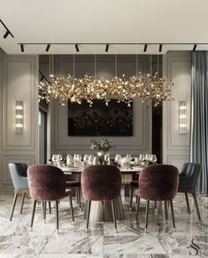 Modern Dining Room Design Ideas That Are Comfortable - Luxury Dining Room, Dining Room Design, Dining Rooms, Modern Dining Room Lighting, Chandeliers Modern, Dining Table, Modern Ceiling, Dining Area, Interior Design Living Room