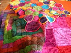 Use yarn scraps to knit and crochet blankets for kids. Our thoughts here  http://www.themodernknit.com/2014/10/08/use-colourful-scraps-make-childrens-blankets/