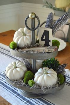 Rustic Autumn Vignette, made in 2-Tier Metal Tray. From VintageFarmhouseFinds.com