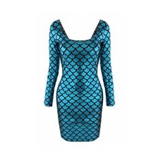 Blue Long Sleeve Square Neck Fish Print Bodycon Dress ($25) ❤ liked on Polyvore featuring dresses, long sleeve body con dress, square neck dress, blue square neck dress, blue long sleeve dress and square neckline dress