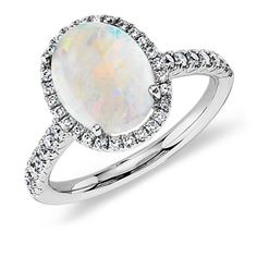 Opal and Diamond Ring in 18k White Gold (10x8mm)--this ring is beautiful and I love it!...almost as much as the $28k black opal ring.  I'd be one extremely happy and lucky woman to have and wear this ring. *Trisha