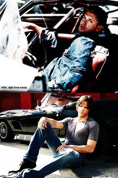 Jensen Ackles and Jared Padalecki Yes, I'd like to order the Metallicar with a side of Winchesters, please.