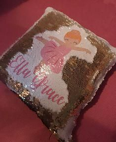 Gold white and pink Personalized Ballerina Mermaid Pillow Ballerina Room, Little Ballerina, Mermaid Crafts, Mermaid Pillow, Sequin Pillow, Pink Sequin, Customized Gifts, Pink And Gold, Etsy Seller