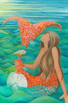 Brunette mermaid sitting down holding her red orange tail among fish and sand dollar Mermaid Quilt, Mermaid Canvas, Mermaid Song, Mermaid Art, Mermaid Dolls, Real Mermaids, Mermaids And Mermen, Mermaid Drawings, Mermaid Paintings