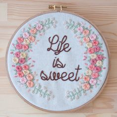 Life is Sweet 20cm embroidery hoop by KEDISHOP on Etsy
