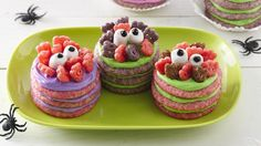 Dress up sugar cookie stacks with monster cereal and marshmallow eyes.