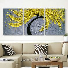 3 Pieces Panel Wall Art Palette Knife Hand Painted Yellow Flower Oil painting On Canvas Wall Pictures Painting For Living Room Modern Oil Painting, Oil Painting Flowers, Oil Painting Abstract, Wall Canvas, Canvas Art, Painting Canvas, Cheap Paintings, Colorful Wall Art, Panel Wall Art