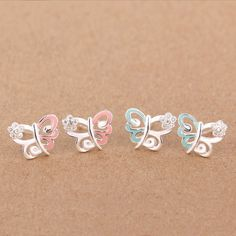 Aliexpress.com : Buy 100% 925 Sterling Solid Silver Jewelry Women's Fashion Cute Tiny Pink/Blue Butterfly Stud Earrings Girls Birthday Gift DS332 from Reliable jewelry settings for sale suppliers on TrustDavis{$5 Minium}