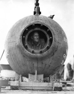 William Beebe inside the Bathysphere.
