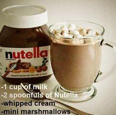 Milk, Nutella, Whipped Cream and Mini Marshmallows...