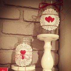 Valentines decor/vases... Mason jars, paper doilies, raffia, twine, bakers twine, felt hearts.  #diy #craft