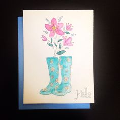Hello Friend card April shower stamp ( Penny Black ) Best friends stamp ( Inkadinkado )