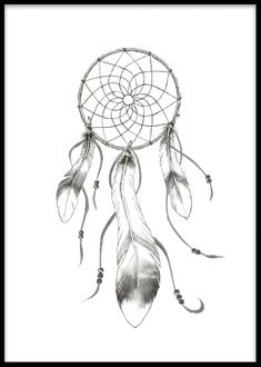 Plakat som forestiller drømmefanger med fjær.