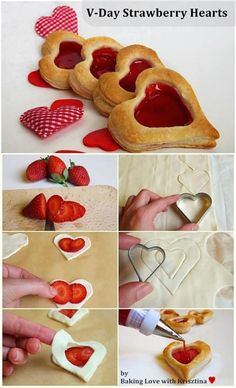 - 1 pack puff pastry - 1 cup/150g strawberries  - 1/3 cup/100g strawberry jam _____________________________  - Preheat oven to 220C - Cut out heart shaped pieces from puff pastry.  - Cut out the inside from half the full hearts using a smaller heart shaped or circle cutter.   - Thinly slice strawberries.  -Put 2-4 slices on each heart and cover with 'heart shaped ring'.  - Brush finished hearts with water. - Bake for 10-12 minutes. - While hearts are still warm, fill them up with strawberry…
