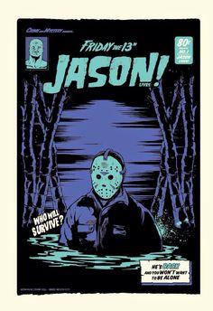 Funko Pop Friday the Jason Voorhees Horror Icons, Horror Movie Posters, Horror Comics, Movie Poster Art, Vintage Horror, Vintage Cartoon, Retro Poster, Vintage Posters, Arte Indie