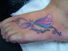 Colorful Dragonfly Tattoo On Foot