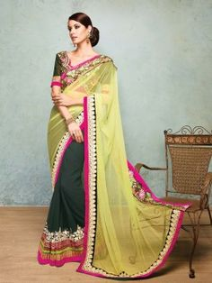 Light Green And Dark Green Net Saree With Resham And Zari Embroidery Work www.saree.com