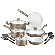 Ceramic Nonstick Cookware Set 14 Piece Kitchen Cooking Frying Pan Pod Lids Gold #CookwareSets