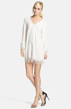 ASTR Embroidered Fringe Trim Tunic Top available at #Nordstrom