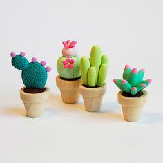 Mini plantes et cactus en pâte Fimo