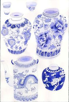 more scans of my artwork for blue and white pattern repeats