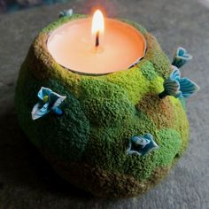 Candleholder - Mossy, (made by me, from polymer clay)