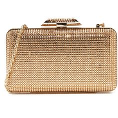 Inge Christopher Jacqueline Crystal Clutch ($345) ❤ liked on Polyvore featuring bags, handbags, clutches, gold, embossed handbags, beige purse, crystal studded handbags, kiss-lock handbags and studded purse