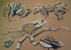 Stylization of bionic form by Aleksandra Kroshechkina, via Behance Biomimicry Architecture, Conceptual Architecture, Architecture Concept Drawings, Architecture Plan, Mall Design, Industrial Design Sketch, Sketch Design, Design Process, Sketches